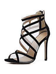 Da donna-Sandali-Matrimonio Ufficio e lavoro Formale Casual Serata e festa-Club Shoes Comoda Innovativo-A stiletto-Tulle Finta pelle-Nero