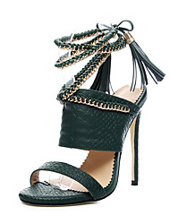 cheap -Women's Shoes PU Spring Summer Club Shoes Sandals Stiletto Heel Peep Toe Chain Tassel for Casual Dress Party & Evening Black Army Green
