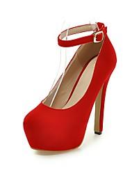 Da donna-Tacchi-Matrimonio Formale Serata e festa-Comoda Cinturino alla caviglia Club Shoes-A stiletto-Felpato-Nero Rosso