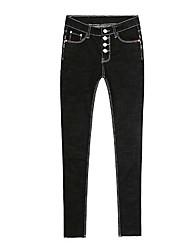 primavera nuovi jeans a vita alta nero petto pantaloni scarni femminili polsini nove piedi era matita pantaloni sottili