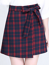 Women's Plus Size A Line Plaid Bow Layered Skirts,Casual/Daily Work Simple Cute High Rise Above Knee Zipper Polyester Micro-elastic Summer