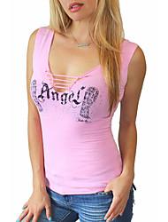 cheap -Women's Going out Cute Summer T-shirt,Print Asymmetrical Sleeveless Cotton Medium