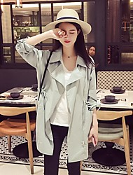 Wind thin section spring new Women Korean student college waist long coat in spring and autumn