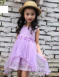 cheap -Girl's Beach Solid Dress,Spandex Summer Sleeveless Lace Blushing Pink Purple Light Blue