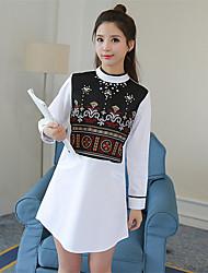 assinar 2017 Primavera coreano vestido bordado mão-de contas