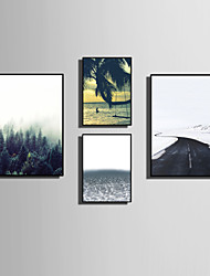 cheap -Framed Canvas Framed Set Landscape Floral/Botanical Words & Quotes Wall Art, PVC Material With Frame Home Decoration Frame Art Living
