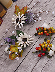 Basketwork Flax Fabric Headpiece-Wedding Special Occasion Casual Outdoor Wreaths 4 Pieces