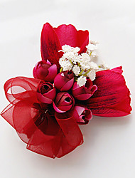 cheap -Wedding Flowers Free-form Roses Lilies Boutonnieres Wedding Party/ Evening Red Satin