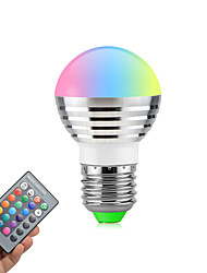 cheap -3W E26/E27 LED Globe Bulbs Rotatable 1 High Power LED 270 lm RGB K Dimmable Remote-Controlled AC85-265 V