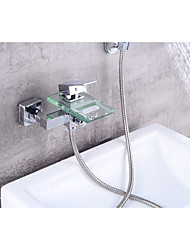 cheap -Contemporary Centerset Waterfall Ceramic Valve Single Handle Two Holes Chrome, Bathtub Faucet