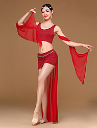 cheap -Belly Dance Outfits Women's Training Spandex Modal Draped 2 Pieces Sleeveless Dropped Top Skirt