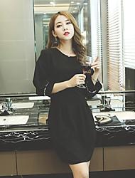 Signe 2016 femmes coréennes slim mince paquet robe de soie
