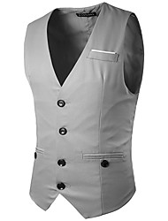 Party Evening Engagement Cotton Blend Slim Fit Suit Vest with Splicing Pocket