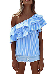 Women's Party Going out Sexy Sophisticated Shirt,Striped Off Shoulder Short Sleeves Rayon Polyester
