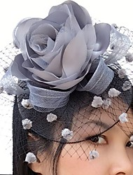 cheap -Satin Net Fascinators Flowers Birdcage Veils 1 Wedding Special Occasion Casual Headpiece
