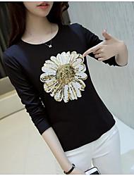 unterzeichnen Pailletten Blumen 2017 Frühling Baumwolle mit langen Ärmeln T-Shirt Frauen Hitz dünnen dünnen Mantel