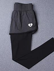 Women's Running Tights Gym Leggings Breathable Leggings for Exercise & Fitness Running Silk Cloth Slim Black Black+Gray S M L XL