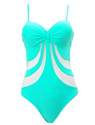 Womens Lace Up  Fashion Push Up Striped Mesh Solid One-piece Swimsuit