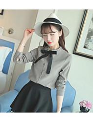 Sign spot sanding Korea Institute of wind bow shirt female long-sleeved lace shirt wild