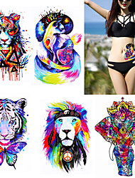 cheap -5 Pieces Watercolor Body Tattoo Temporary Waterproof Tiger Lion Decal Back Arm Art Sticker Colorful