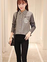 Sign-sleeved Korean Fan wild Korean version of College Wind fresh striped cotton shirt shirt female students