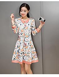 Temperamento coreano moda simples um vestido 2017 primavera nova boneca colar senhoras vestido de cor sólida selvagem