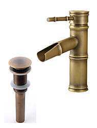 cheap -Antique Modern Country Centerset Waterfall Ceramic Valve Single Handle One Hole Antique Copper, Faucet Set