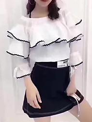preiswerte -Damen einfarbig Muster Einfach Street Schick Anspruchsvoll Lässig/Alltäglich Strand Urlaub Bluse Rock Anzüge,SchulterfreiRiemengurte