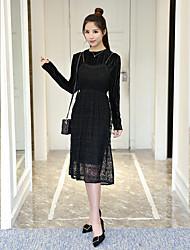 Linea A Vestito Da donna-Da giorno Vintage Tinta unica Colletto alla coreana Sopra il ginocchio, Mini Manica lunga Non disponibile Autunno