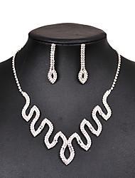 abordables -Mujer Juego de Joyas Pendientes cortos Collar Cristal Moda Clásico Cobre Forma Geométrica 1 Collar 1 Par de Pendientes Para Boda Fiesta