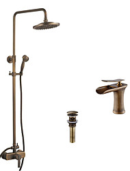 cheap -Antique Tub And Shower Rain Shower Waterfall Handshower Included Ceramic Valve Two Holes Single Handle Two Holes Antique Brass, Faucet Set