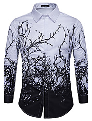 Men's Casual/Daily Simple Spring Fall Shirt,Print Classic Collar Long Sleeves Polyester
