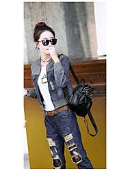 cheap -Women's Cotton Denim Jacket Print Stand