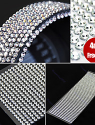 cheap -990pcs 4mm Rhinestones Self Adhesive Diamantes Stick On Crystals Beads Nail Art Car SILVER