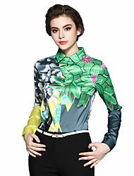 Недорогие -Жен. Офис С принтом Рубашка, Рубашечный воротник Шинуазери (китайский стиль) Хлопок