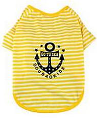 preiswerte -Hund T-shirt Hundekleidung Niedlich Lässig/Alltäglich Streifen Gelb Leicht Grün Kostüm Für Haustiere