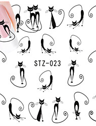 cheap -10pcs/set Hot Sale Lovely Style Nail Art Water Transfer Decals Lovely Cartoon Cute Cat Design Romantic Nail Beauty Sticker DIY Beauty Decals STZ-023
