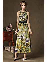 vestido de verão novas mulheres&# 39; s fashion era magro impressão em tamanho maré saia grande deusa