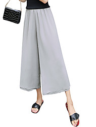 cheap -Women's Cute Loose Wide Leg Chinos Pants - Solid Colored Chiffon High Rise