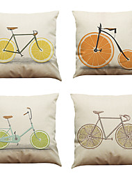 Set of 4  Fruit Bikes Pattern  Linen Pillowcase Sofa Home Decor Cushion Cover