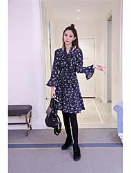 assinar Coreia do novo inverno retro pequena veludo vestido floral saia longa Flouncing assentamento