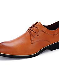 Hombre Zapatos Cuero Primavera Verano Otoño Invierno Confort Oxfords Paseo Flor Para Boda Casual Fiesta y Noche Negro Gris Amarillo