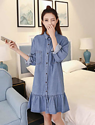 Skirt autumn and winter 2016 new Korean female wild long section was thin loose long-sleeved denim dress tide students
