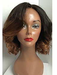 cheap -Human Hair Lace Wig Wavy Full Lace Glueless Full Lace 100% Hand Tied African American Wig Natural Hairline Ombre Hair 130% Density