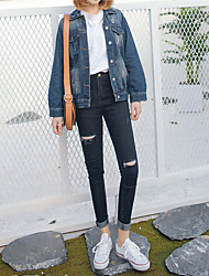 segno 2017 coreano Via battere selvaggio sottile era sottile del foro piedi dei jeans