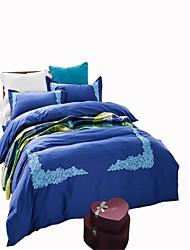 cheap -Duvet Cover Sets Solid 4 Piece Cotton Reactive Print Cotton 1pc Duvet Cover 2pcs Shams 1pc Sham