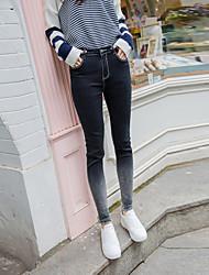 firmare bordi retrò grigio sfumato nove punti dei jeans femminili dei pantaloni matita stretta piedi scuro