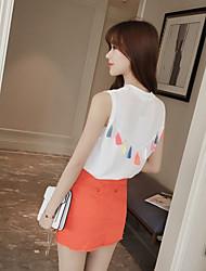 2017 new summer Korean sweet color fringed vest knitted thin shirt female