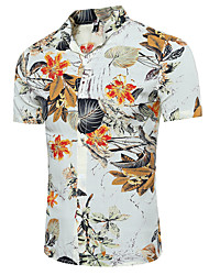 cheap -Men's Daily Casual Summer Shirt,Check Classic Collar Short Sleeves Polyester