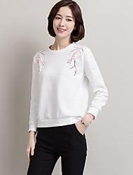reale colpo femminile cotone ricamato a maniche lunghe 2017 nuove donne di autunno coreano sciolti, maglietta casuale bianca